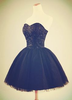 cute short tulle ball gown prom dress, #blackpromdress, #minipromdresses