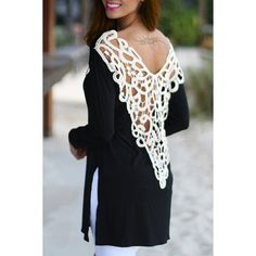 Stylish Scoop Neck Long Sleeve Side Slit Hollow Out Women's T-Shirt $15.12