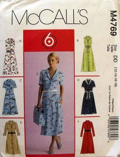 McCall's Sewing Pattern 4769 Misses Size Easy Button Front Shirtwaist Dresses Flattering Outfits, Sewing Alterations, Mccalls Sewing Patterns, Pattern Sewing, Shirtwaist Dress, Miss Dress, Sewing Studio, Cut Shirts, Petite Dresses
