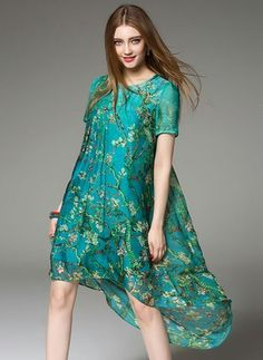 Polyester Silk Floral Short Sleeve High Low Vintage Dresses (1014099) @ floryday.com