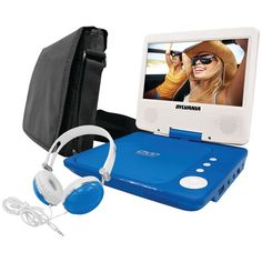 "SYLVANIA COMBO-BLUE 7"" Swivel-Screen Portable DVD Player Bundle  #SYLVANIA"