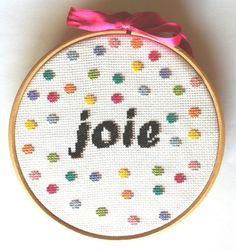 Items similar to Joie - PDF counted cross stitch pattern - Instant downlaod on Etsy Modern Cross Stitch Patterns, Counted Cross Stitch Patterns, Cross Stitch Designs, Cross Stitch Quotes, Cross Stitch Boards, Diy Embroidery, Cross Stitch Embroidery, Diy Broderie, Origami