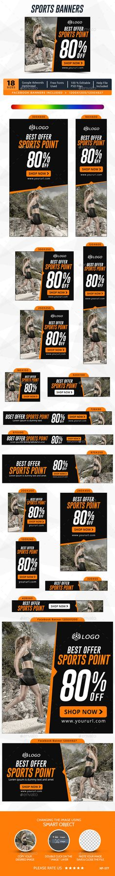 by Hyov on GraphicRiver. Promote your Products and services related to Sports niche with this great looking Banner Set. Sports Clubs, Kids Sports, Sports Logo, Sports Banners, Web Banners, Girl Fashion Style, Healthy Cat Treats, Banner Images, Sport Body