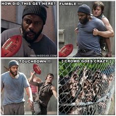 Daryl and Tyreese playing rugby | The Walking Dead funny meme -  For the best rugby gear check out http://alwaysrugby.com