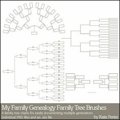 4 Family Tree Charts ~ For easily documenting multiple generations. These can be used in a digi layout as traditional tree charts or just use a few branches as a great heritage album embellishment. See previous pin for an example of this beautiful digi technique!