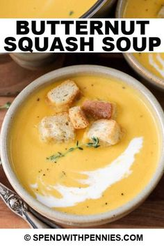 Creamy Soup Recipes, Fall Soup Recipes, Healthy Soup Recipes, Cooking Recipes, Healthy Meals, Butternut Soup, Roasted Butternut Squash Soup, Thanksgiving Soups, Bisque Soup