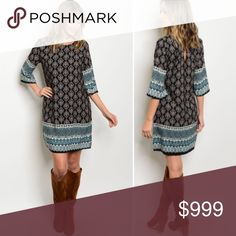 "Just in!!! Boho Printed Dress S-L Black & taupe print dress. Just in!!! Sizes  S-L. Length is 34"" and small is 18"" underarm to underarm so runs nice and flowy! Small is in my picture. 100% Polyester. Dress is fully lined! Made in USA! No trades only offer button no comments! Dresses"
