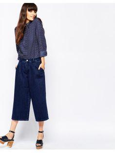 Madine - Jupe-culotte en jean - Jean bleu foncé