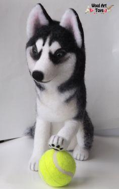 Siberian Husky Lora - Artist Needle Felted Dog by WoolArtToys.deviantart.com on @DeviantArt