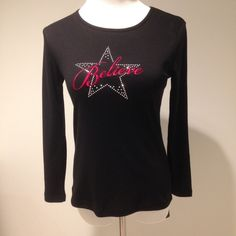"""Petites sizing long sleeve black tee The """"believe"""" star design with appliqués is perfect for the upcoming holiday season! 60% cotton 40% polyester Karen Scott Tops Tees - Long Sleeve"""