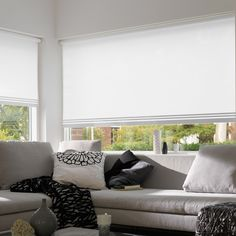 Simple, classic white Roller Blinds with panel and bar trims create a chic look. Classic House, Decor, Furniture Combinations, Drapes And Blinds, House Styles, Classic Home Decor, Blinds, Home Decor, Cool Curtains