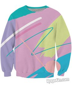 Check out this awesome 80's fueled Fresh Paint Crewneck Sweatshirt design by artist, Yoko Honda!  #YokoHonda #80sinspired #alloverprint #bestquality #jumper #crewneck