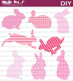INSTANT DOWNLOAD - Bunny Silhouettes Pink and Hot pink Clip Art, baby clip arts, baby girl, elements, baby shower, Personal and Commercial.