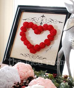 Valentines heart crafts, paper roses, valentine day, a frame, valentine decorations, scrapbook paper, framed art, valentine ideas, paper rosettes