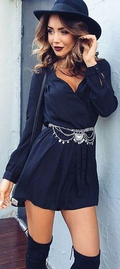 #fall #trending #outfits |  All BLack Everything + 'Lost Time' Playsuit