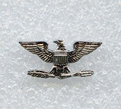 Vtg Colonel Rank Eagle Badge Crest Craft Sterling Tie Tack Pin w/SafetyTie Clasp