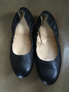 13735642c13a8 J. Crew Flats Black Leather Ballet Scrunch Shoes Women's Size 7.5 #fashion  #clothing