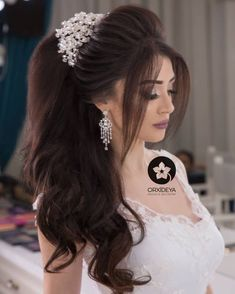Bridal Hair Buns, Bridal Hairdo, Hairdo Wedding, Elegant Wedding Hair, Wedding Hair Down, Pakistani Bridal Hairstyles, Hairstyles For Gowns, Formal Hairstyles For Long Hair, Bride Hairstyles