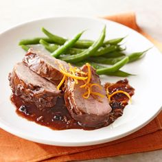 Roasted Pork with Blackberry Sauce A rich and flavorful marinade, including blackberry preserves, dry white wine, fresh rosemary, and Dijon mustard, dresses up roasted pork tenderloin. Fresh green beans make a simple, healthy side dish.