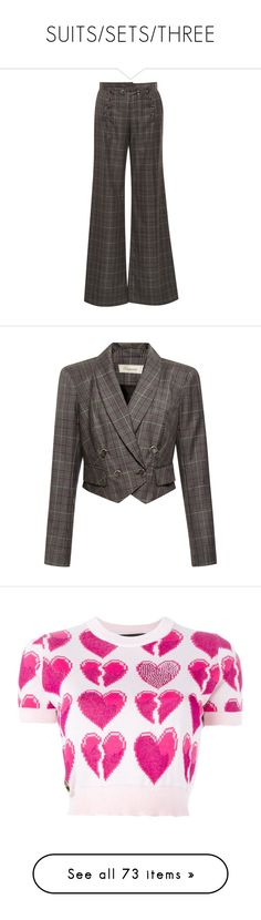 """""""SUITS/SETS/THREE"""" by kazza-smith ❤ liked on Polyvore featuring pants, dark grey, flared leg pants, tartan pants, plaid pants, dark grey pants, dark gray pants, outerwear, jackets and tailored jacket"""