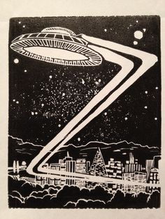 Z: Retro Science Fiction Alphabet Letter, UFO Linocut (woodcut-ish) print
