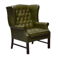 Chesterfield Style Leather High Back Easy Chair