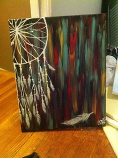 Hand painted acrylic dream catcher with turquoise, red, yellow, black background on canvas $40 order yours at Facebook.com/creativecanvasbychelsie