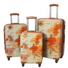 World Traveler Euro 3 Piece Expandable Lightweight Hardside Spinner Lock Luggage Set (Map suitcases)