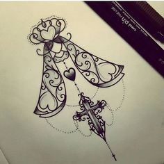 pai e mãe desenhos tatuagem - Pesquisa Google. I don't want to cross but I love the angel