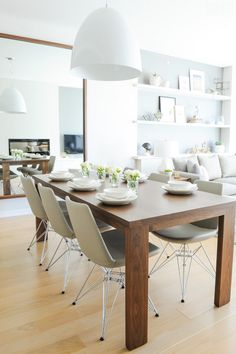 Simple wood  white dining room