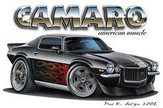 Cool Muscle Cartoon Cars | 1972 Camaro, 406 sbc, 11.5:1, Dart Pro 1 230cc Heads,