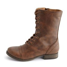 Charlotte Russe Cap-Toe Lace-Up Combat Boots (€36) ❤ liked on Polyvore featuring shoes, boots, ankle booties, brown, charlotte russe booties, lace up combat boots, combat booties, brown boots and shiny combat boots