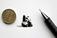 'Mini Panda'  (Watercolour)  Natalie Collins  Stumbled across Lorraine Loots beautifully tiny paintings this morning and thought I'd give it a go myself. http://www.thisiscolossal.com/2014/09/postcards-for-ants-a-365-day-miniature-painting-project-by-lorraine-loots/