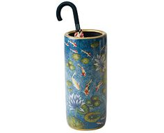 Royal Blue with Koi Carp and Water Lilies Umbrella Stand