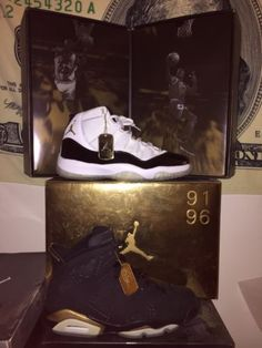 Nike-Air-Jordan-Retro-DMP-6-11-Black-Gold-Sz-8-5-Rare-Limited-QS 99c5fddec