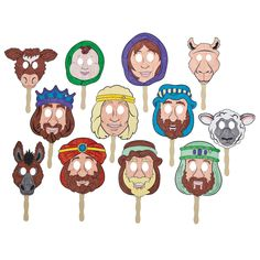 Color Your Own Story Of Christmas Masks - OrientalTrading.com | color and act out the Nativity story $4.99 for the set of 12