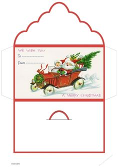 Santa has a car for Christmas by Angela Wake this money wallet is ideal for last minute gifts and to sell at craft fairs: this money wallet… Christmas Paper Crafts, Paper Crafts For Kids, Crafts To Sell, Christmas Crafts, Xmas, Paper Crafts Origami, Diy Paper, Christmas Envelopes, Gift Envelope