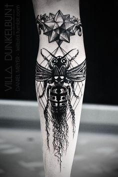 Geometric Moth Black Ink Tattoo