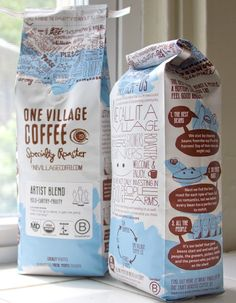 One Village Coffee on Packaging of the World - Creative Package Design Gallery Beverage Packaging, Coffee Packaging, Pretty Packaging, Brand Packaging, Design Packaging, Coffee Labels, Vintage Packaging, Gift Packaging, 3d Data Visualization