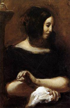 Eugène Delacroix - Portrait of George Sand 1838 oil on canvas George Sand, Ferdinand, Manet, Eugène Delacroix, Romanticism Artists, Carl Spitzweg, Gustave Courbet, Famous Portraits, Art History