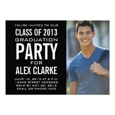 BLACK CLASS OF 2013 PARTY PHOTO INVITATION