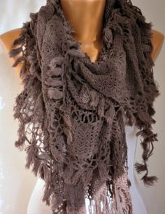 ON SALE - Fabric Knitted Lace Scarf  -  Shawl Scarf  Cowl Scarf -  Long Scarf - Ruffle Scarf-  Puce -fatwoman