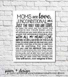 Mother's Day Gift For Mom Unconditional Love Poem Art Print Birthday Gift For Mom Wall Art Wedding Gift For Mom Motherhood Quote Poster The Way You Are, Love You, Mom Poems, Mother Birthday Gifts, Quotes About Motherhood, Unconditional Love, Gifts For Mum, Better Love, Quote Posters