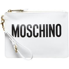 MOSCHINO Leahter loged clutch ($240) ❤ liked on Polyvore featuring bags, handbags, clutches, white handbags, moschino purse, white clutches, moschino and moschino handbags