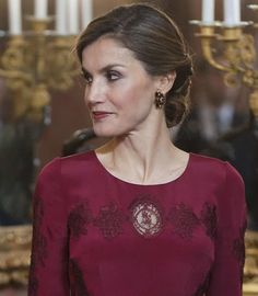 King Felipe VI of Spain and Queen Letizia of Spain attend the annual Foreign Ambassadors reception at the Royal Palace on January 26, 2017 in Madrid, Spain.