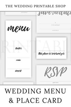Handwritten Script Wedding Menu and Place Card Set Printable Diy Stationery Set, Stationery Design, Wedding Stationery, Wedding Place Cards, Wedding Menu, Diy Wedding, Wedding Prints, Script, Wedding Printable