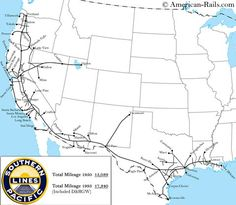 The Southern Pacific was an institution in California and one of the most powerful railroads in the west. It faltered in the and was purchased by the Rio Grande and in 1996 became part of UP. Us Railroad Map, Union Pacific Railroad, Railroad History, Train Map, Train Route, Train Tracks, Train Rides, Train Drawing, Trains