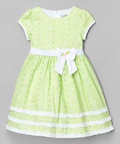 This Mia Juliana Green Ruffle Eyelet Dress - Infant, Toddler & Girls by Mia Juliana is perfect! #zulilyfinds