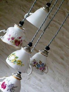 DIY teacup hanging lights