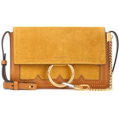 Chloé Faye Small Suede and Leather Crossbody Bag (7.040 BRL) ❤ liked on Polyvore featuring bags, handbags, shoulder bags, yellow, leather shoulder bag, leather purses, chloe handbags, leather shoulder handbags and leather crossbody purse